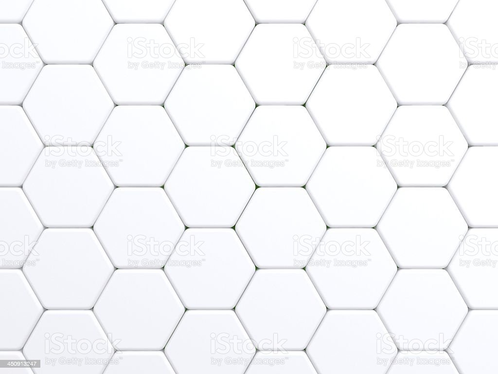 Seamless pattern made up of hexagonal white tiles stock photo