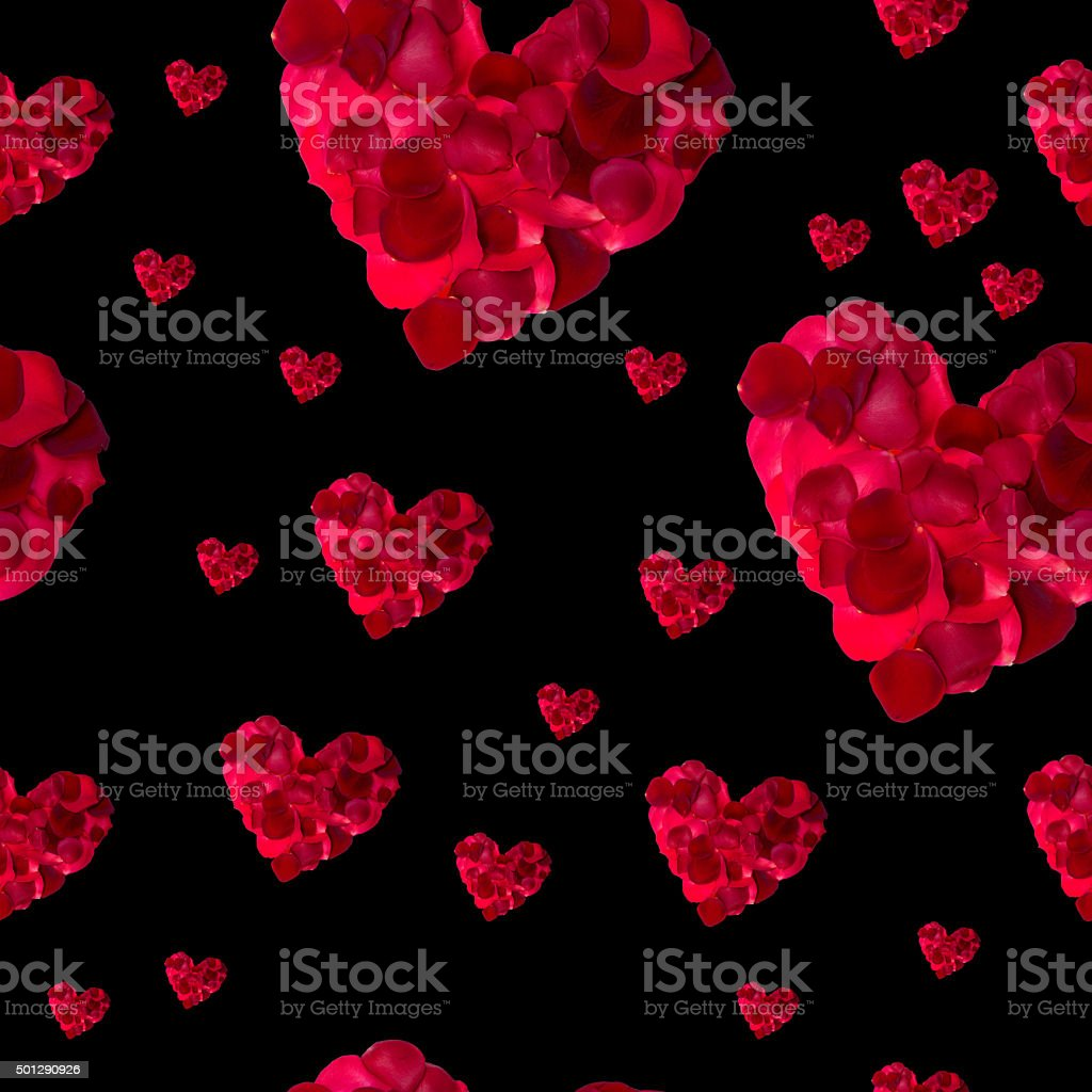 seamless pattern red heart rose petals stock photo