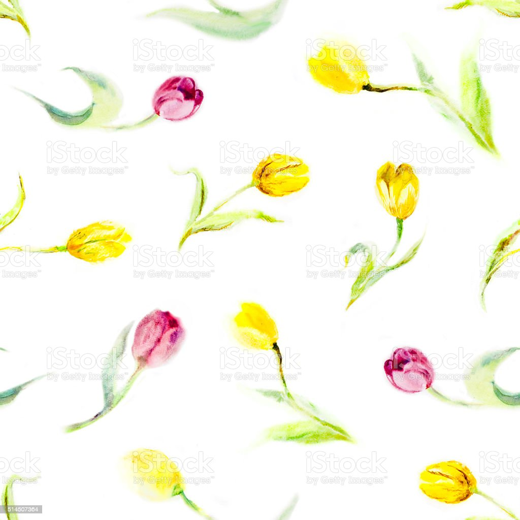 Seamless pattern - watercolor tulips stock photo