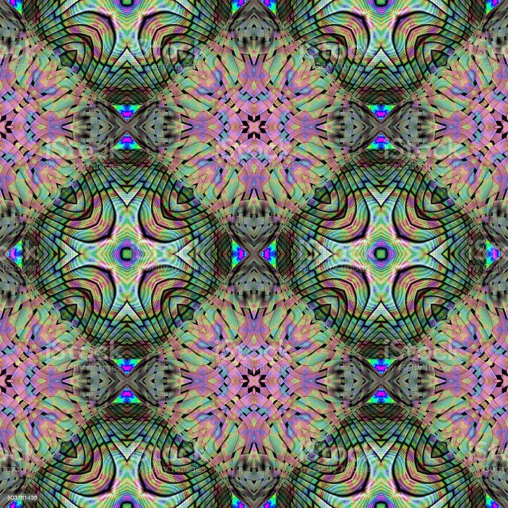 Seamless pattern with abstract motif like a kaleidoscope stock photo