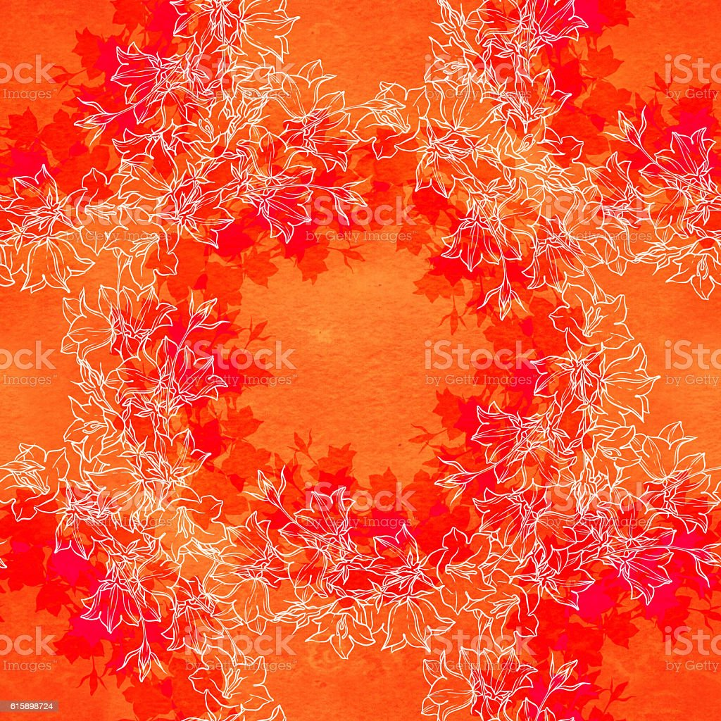 Seamless pattern with bellflowers. Floral ornament. stock photo