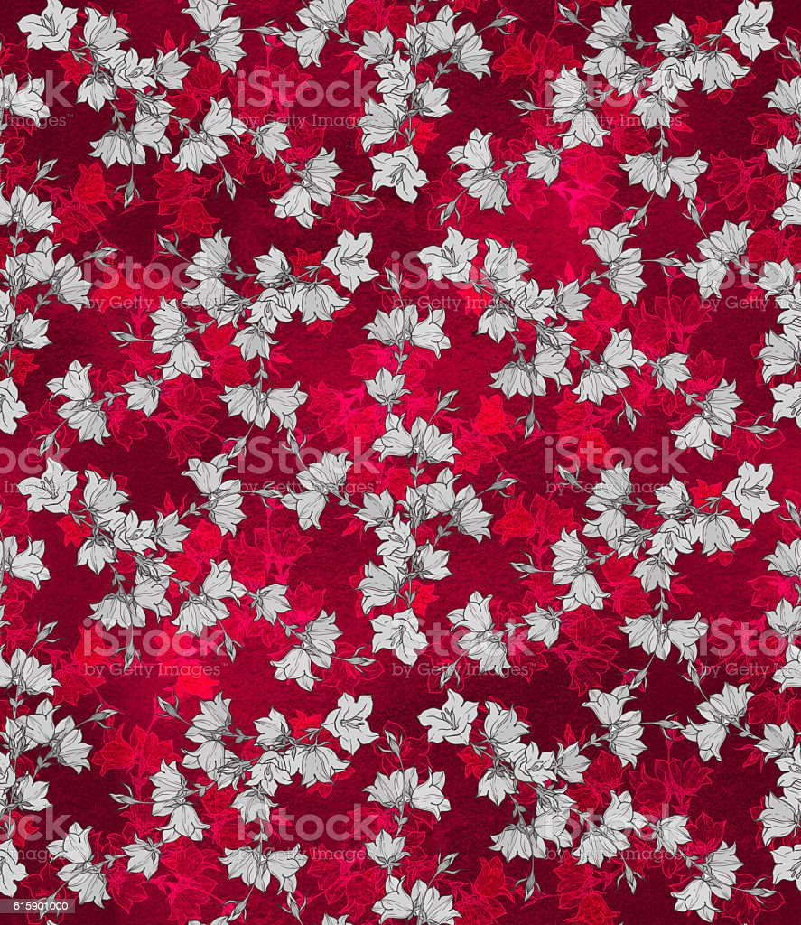 Seamless pattern with bellflowers. Floral ornament stock photo
