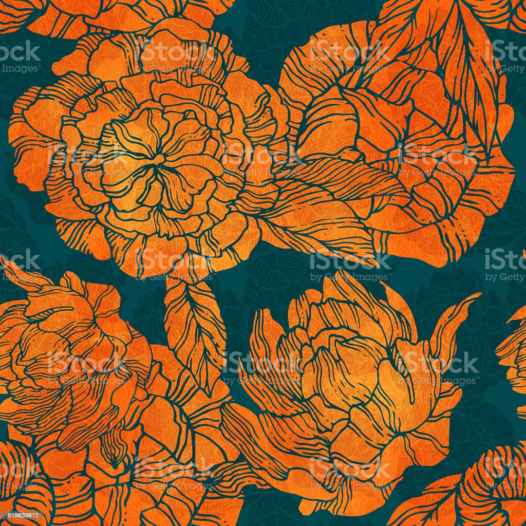 Seamless pattern with blossom and flower bud of peonies stock photo