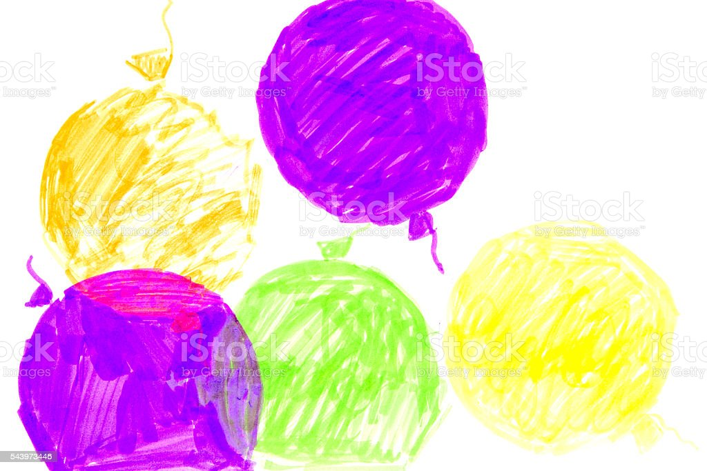 Seamless pattern with colorful watercolor balloons stock photo