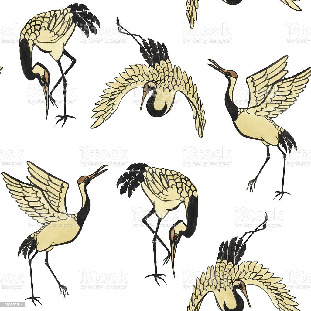 Seamless pattern with cranes stock photo