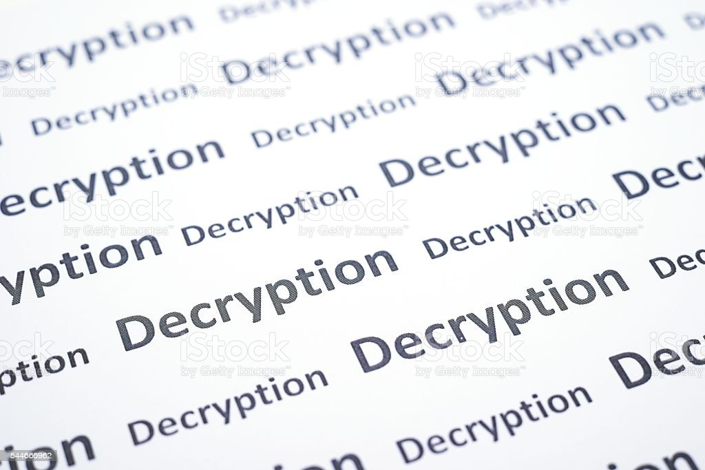 Seamless pattern with decryption word stock photo