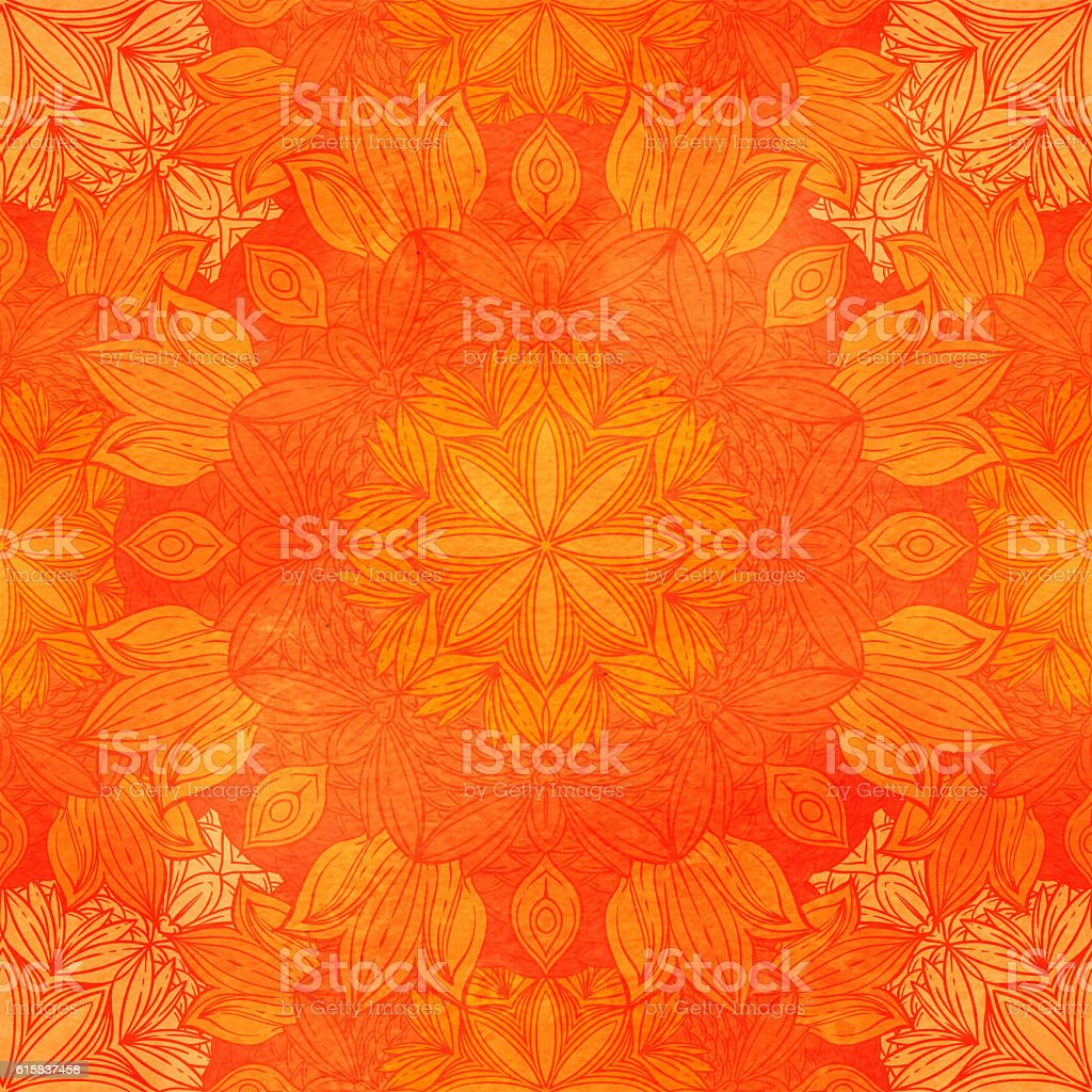 Seamless pattern with floral ornament. Round kaleidoscope and stock photo