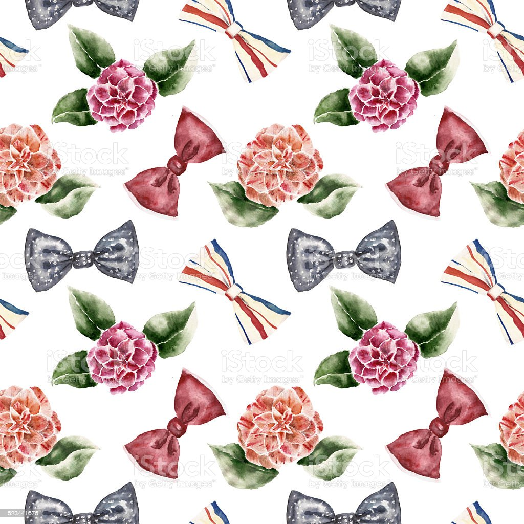 Seamless pattern with flowers and bow tie vector art illustration