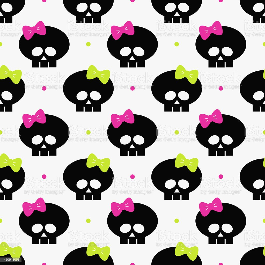 seamless pattern with funny halloween skulls over white stock photo