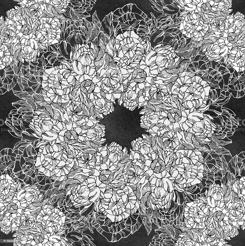Seamless pattern with peonies. Round kaleidoscope stock photo