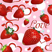 Seamless pattern with red strawberries on a pink background.