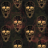 Seamless pattern with skull on grunge background