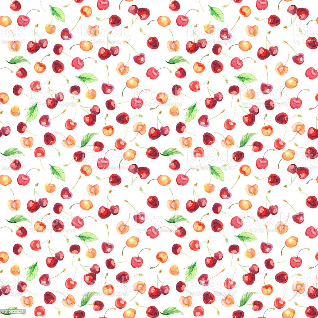seamless pattern with sweet cherries stock photo