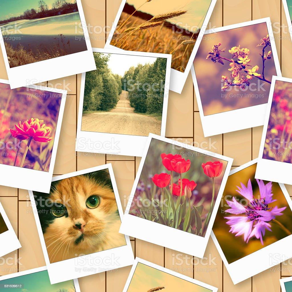 Seamless pattern with vintage photos stock photo