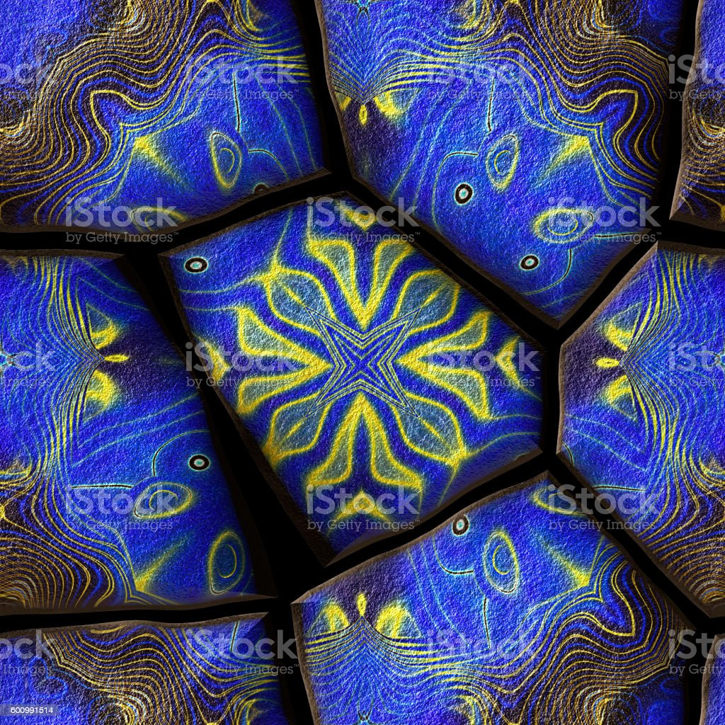 Seamless pavement stone pattern with ornaments and stars stock photo