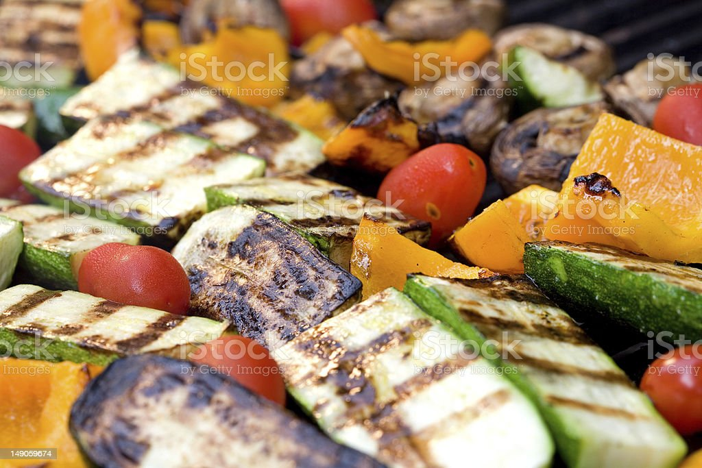 Seamless photo of various grilled vegetables stock photo