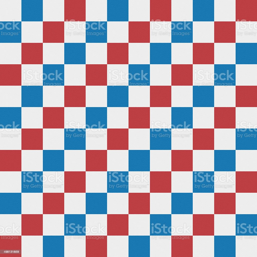 Seamless red and blue checked pattern on white paper royalty-free stock photo
