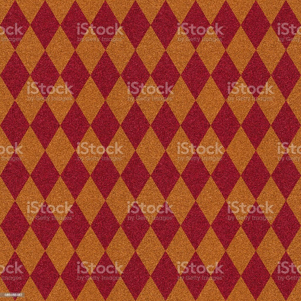 Seamless red and gold diamond pattern on glitter paper vector art illustration