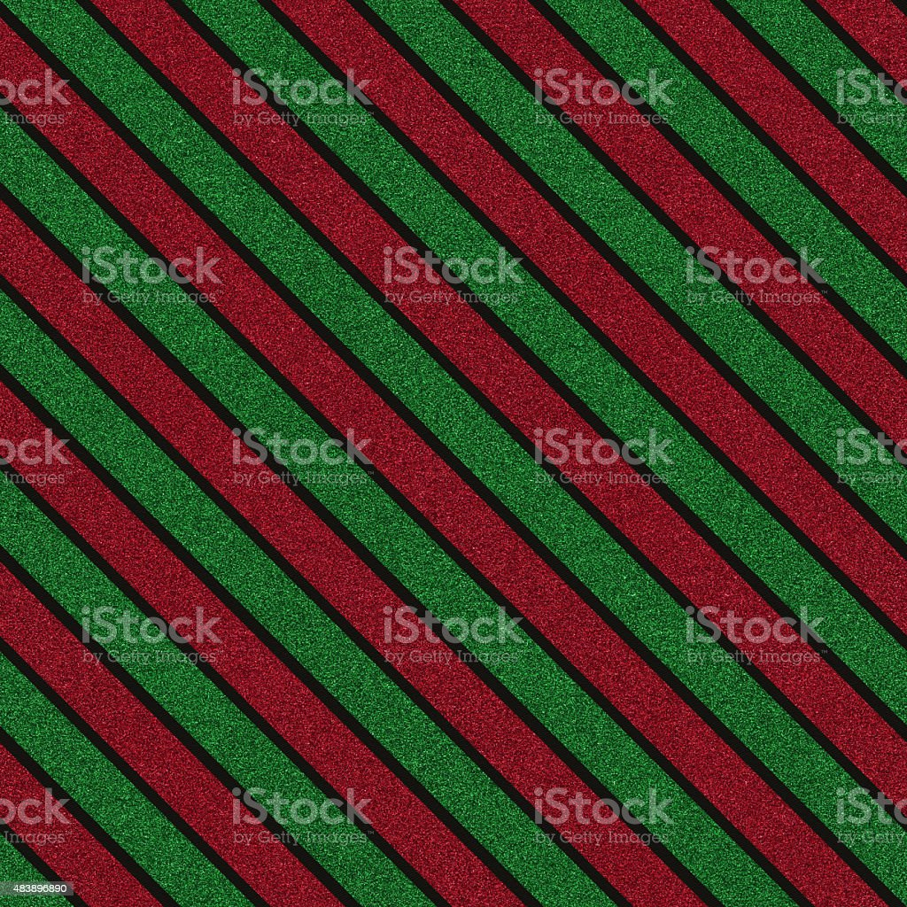 Seamless red and green glitter pattern on black paper vector art illustration