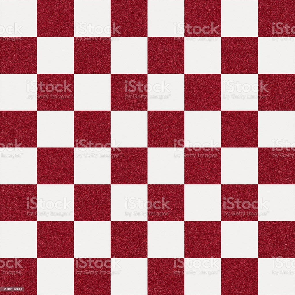 Seamless red glitter checkerboard on white paper stock photo