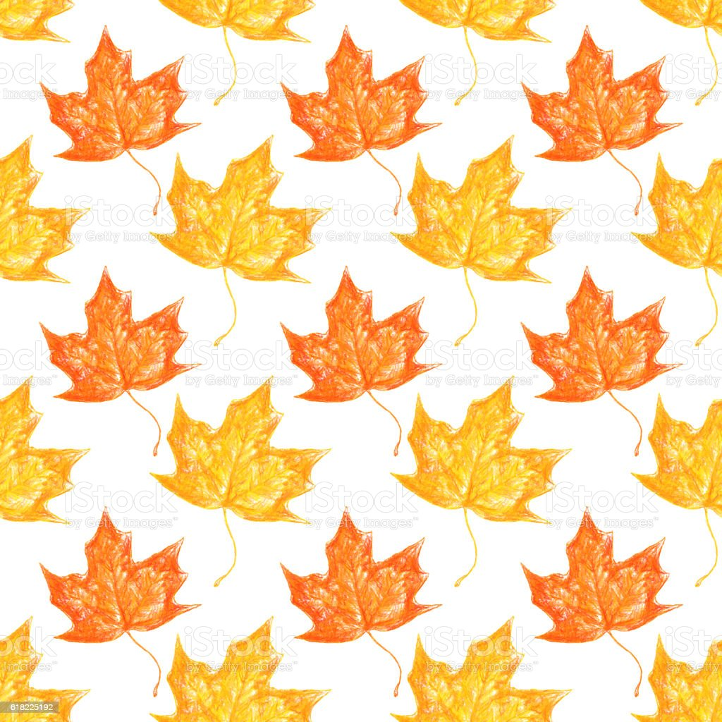 Seamless repeating crayon drawn leaves background stock photo