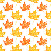 Seamless repeating crayon drawn leaves background