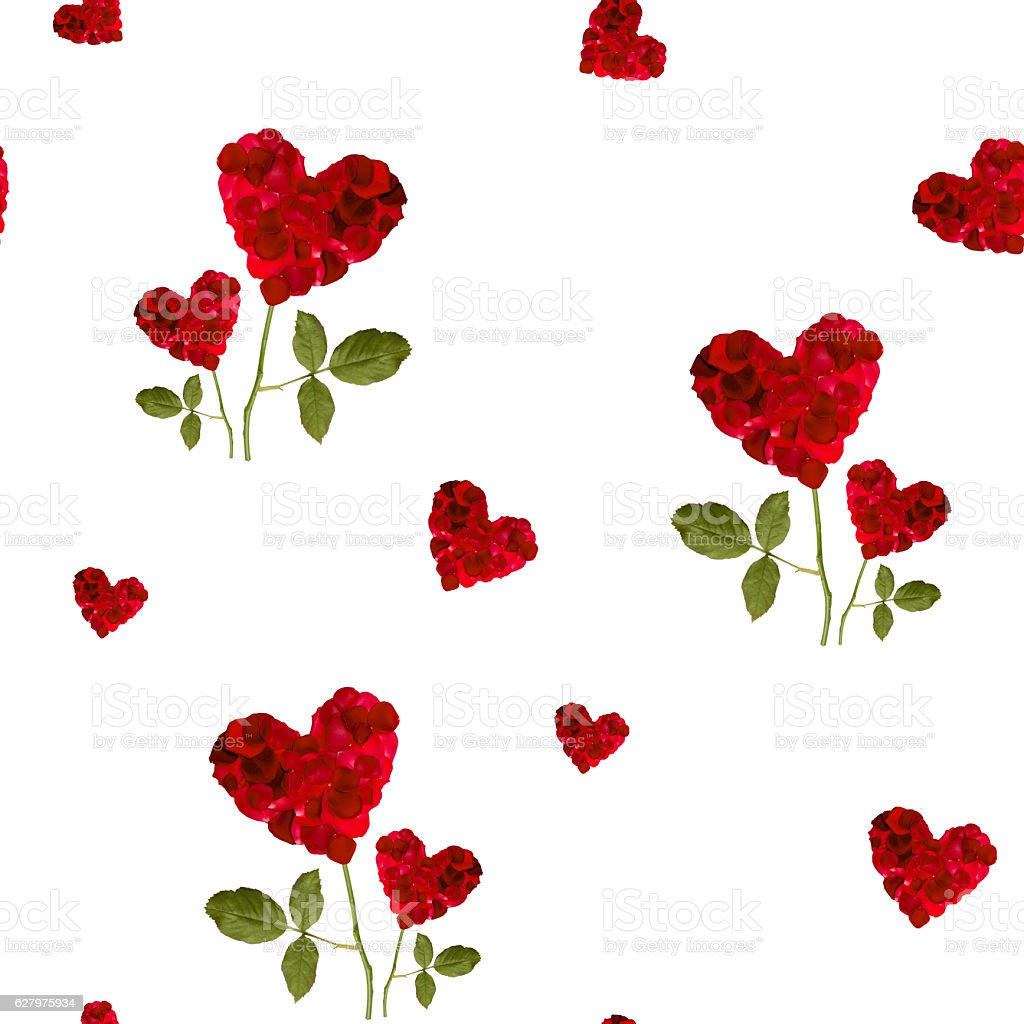 seamless repeating patterns  red hearts rose petals  for Valentine's Day stock photo