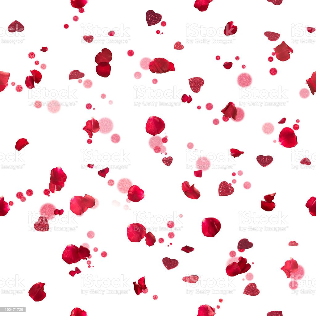 Seamless roses hearts stock photo