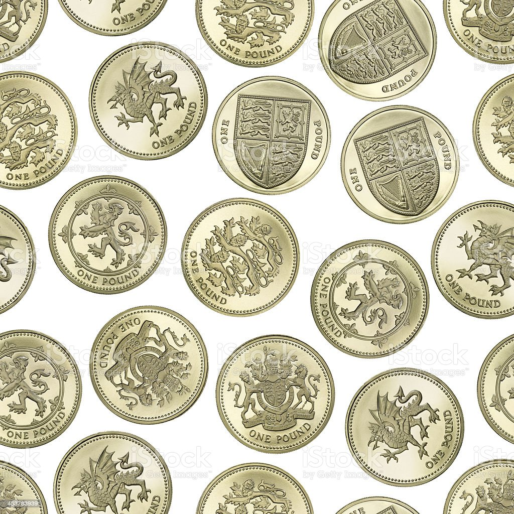 Seamless texture of British One Pound coins on white background stock photo