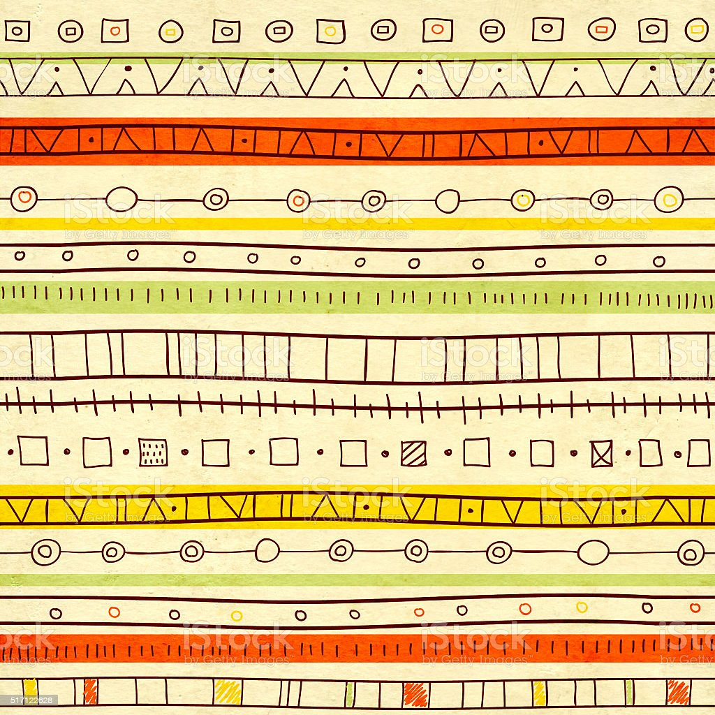 Seamless texture of old paper and ethnicity patterns stock photo