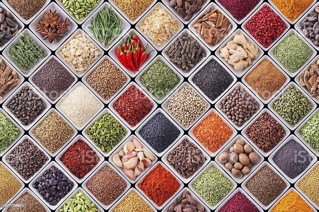 Seamless texture with spices and herbs stock photo