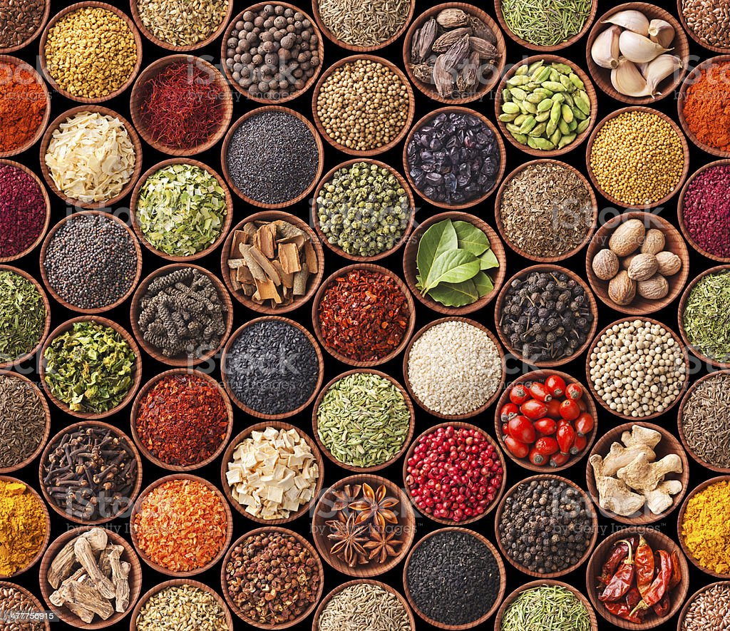 Seamless texture with spices and herbs royalty-free stock photo