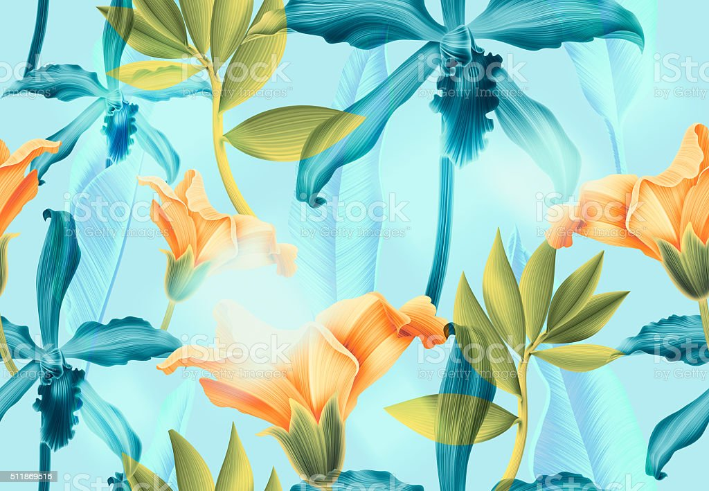 Seamless tropical flower, plant and leaf pattern background stock photo