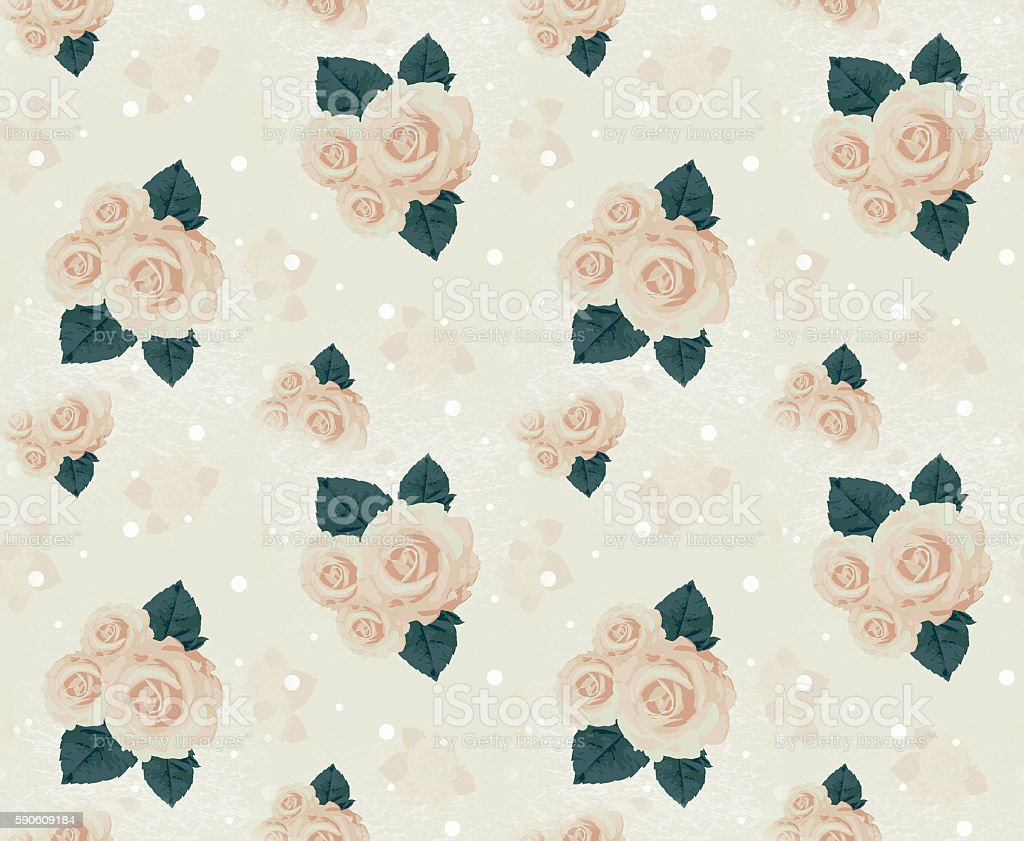 Seamless wall-paper with roses, beige stock photo