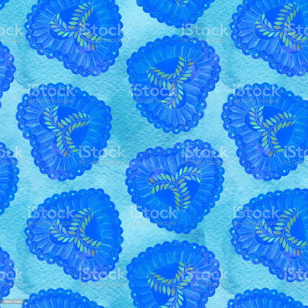Seamless watercolor pattern with blue heart stock photo