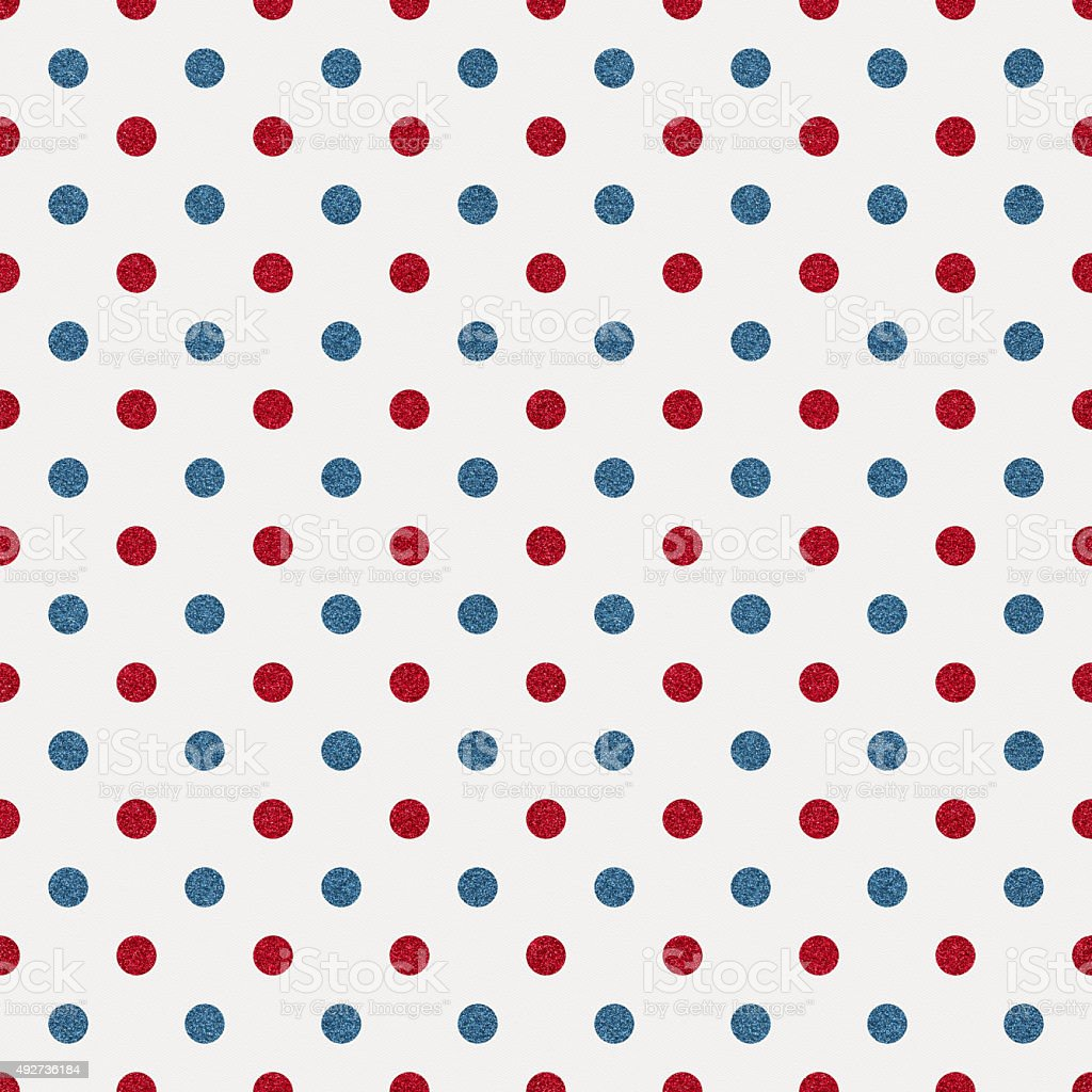 Seamless white paper with red and blue glitter dots stock photo