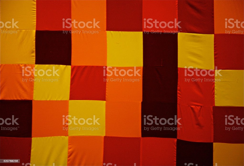 Seamless Yellow Ogange Squared Tablecloth Gingham Cotton Fabric Background stock photo