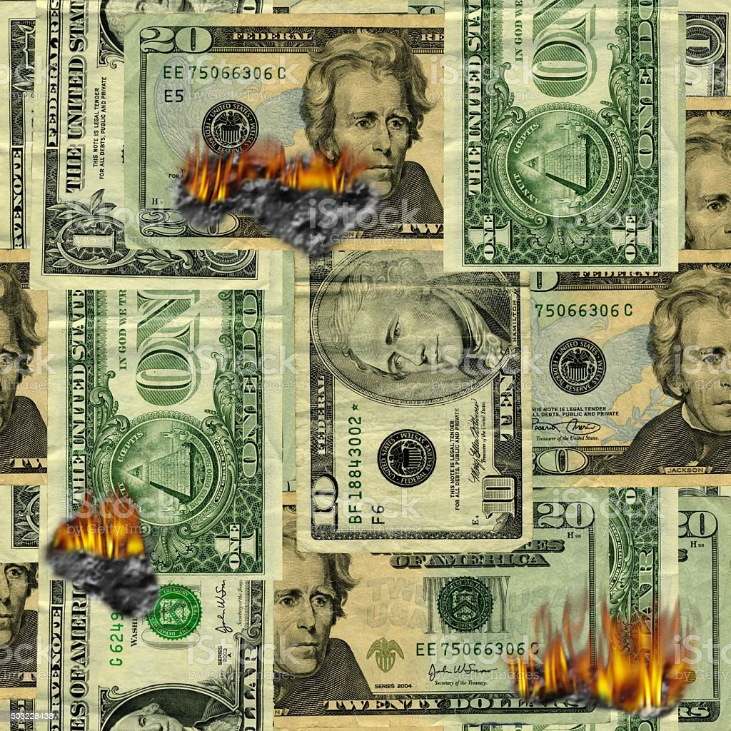 Seamlessly Repeatable Burning Money Pattern stock photo