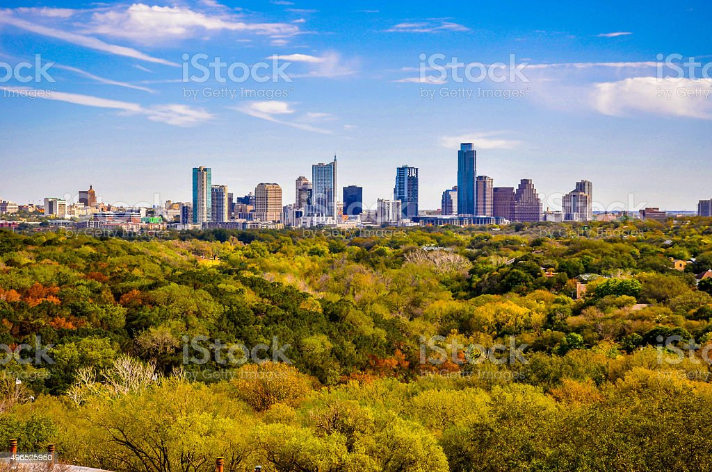 Seaons Change Austin Texas during Fall Downtown Skyline stock photo