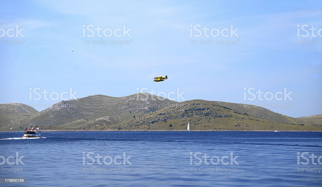 Seaplane above the National park Kornati royalty-free stock photo