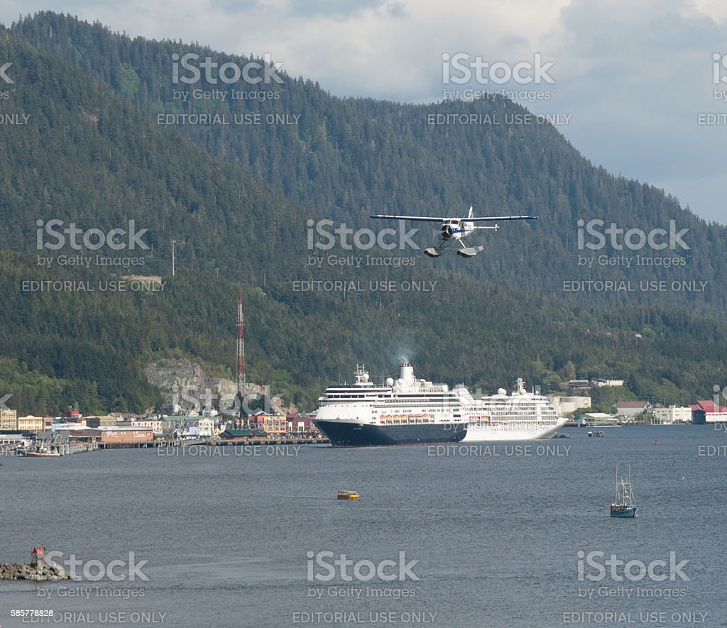 Seaplane Approach stock photo