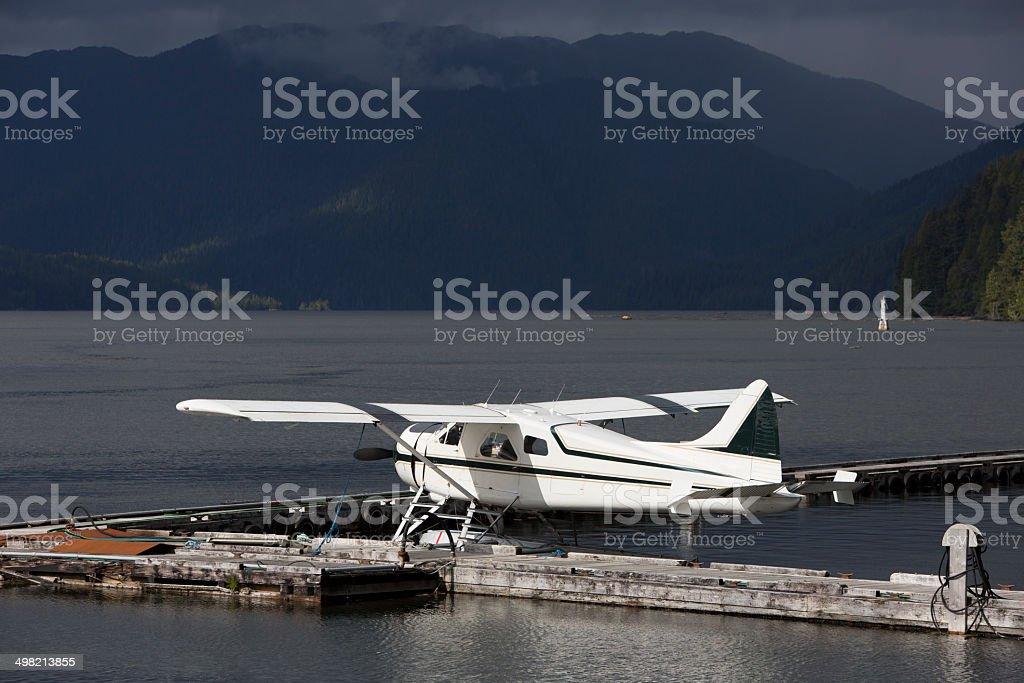 Seaplane at Dock stock photo