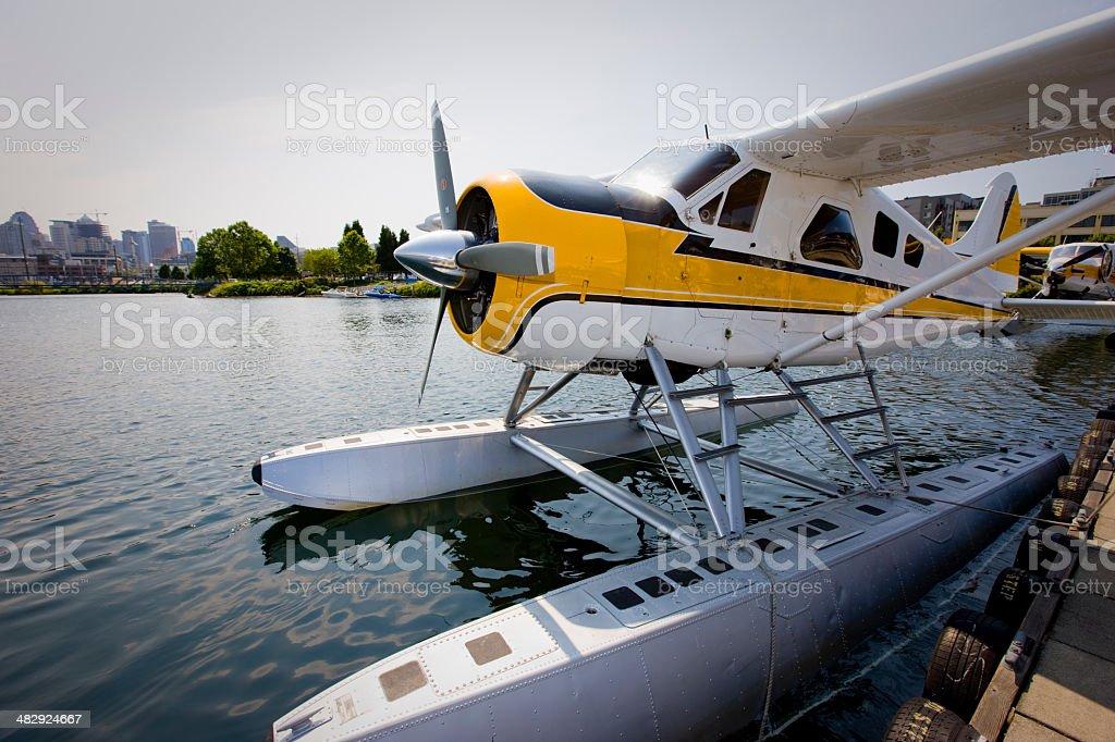 Seaplane at Lake Union Seattle stock photo