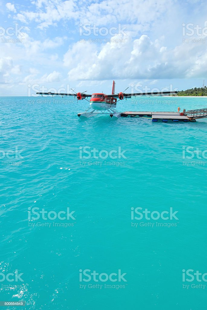 Seaplane at the dock stock photo