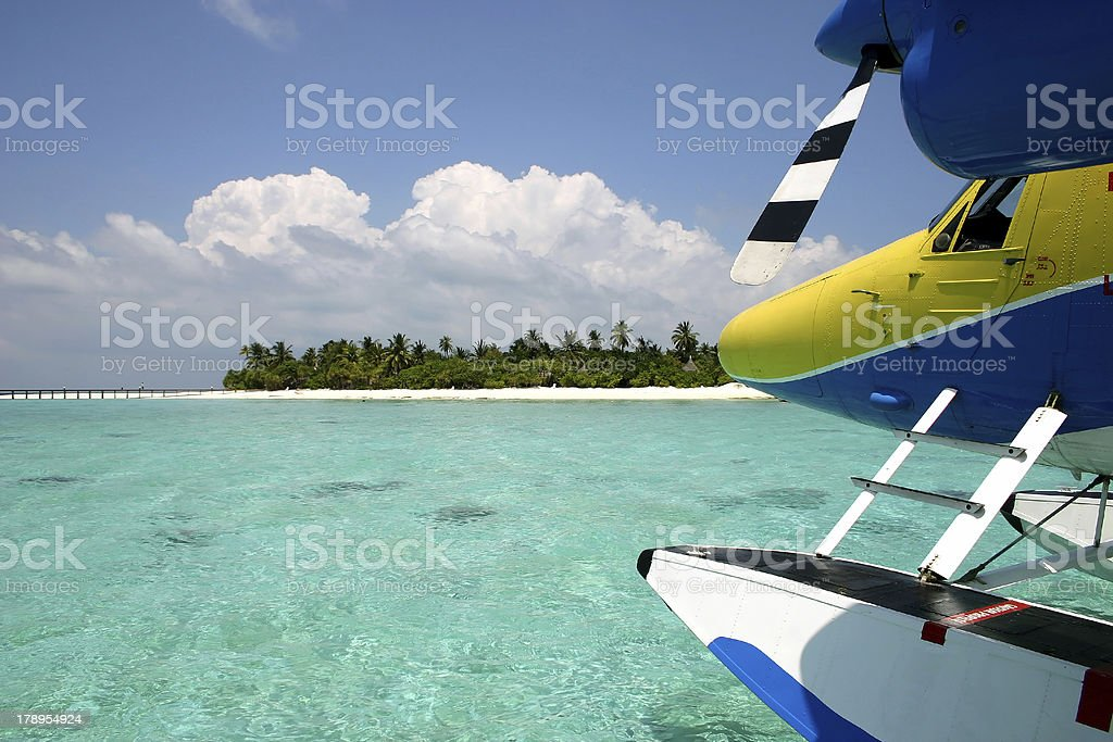 Seaplane Before An Island stock photo
