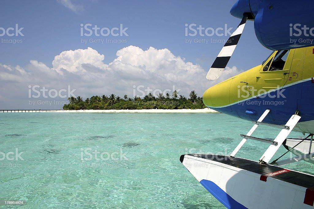 Seaplane Before An Island stock photo