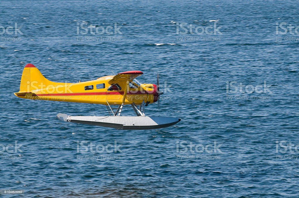 Seaplane coming in to land stock photo