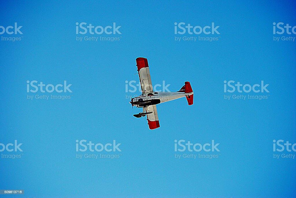 Seaplane in blue sky stock photo