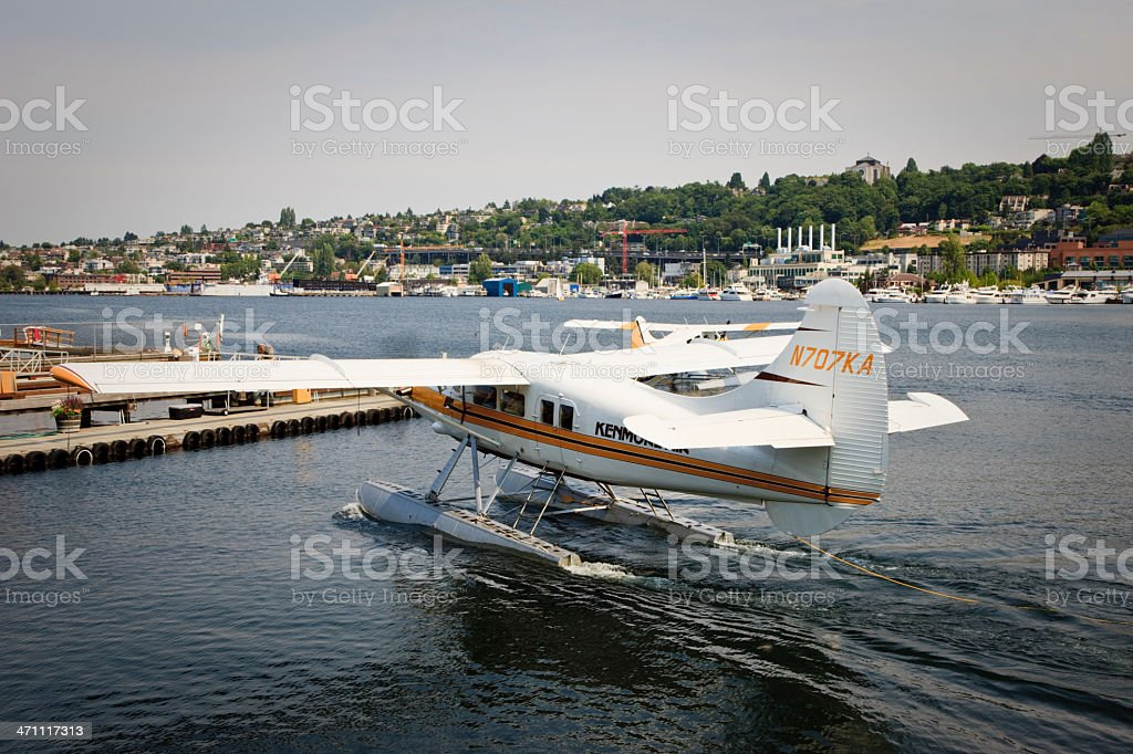 Seaplane Landing at Lake Union Seattle royalty-free stock photo