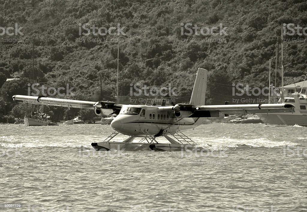 Seaplane landing royalty-free stock photo